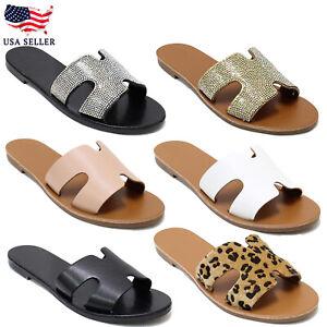 New Women's Summer Rhinestone H-Strap Slide Strap Flat Fashion Slipper Sandal