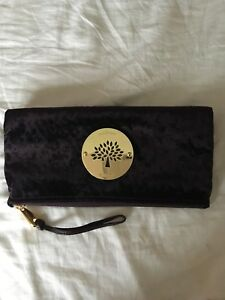 46af4e09baa Image is loading Authentic-Mulberry-Daria-Clutch-Grape-Ostrich-Velvet-New