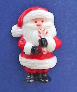 Hallmark-PIN-Christmas-Vintage-SANTA-Candy-CANE-Holiday-Brooch-NO-MARK