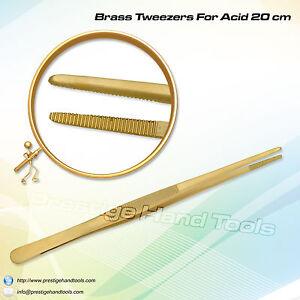 "Prestige Brass tweezers for Acid pickling solution jewellery Making tools 8"" 702168753957"