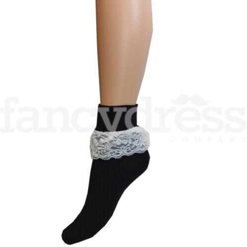Womens Childrens Frilly Lace Ankle Socks 1950s Style Bopper Socks Fancy Dress