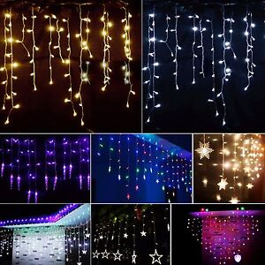 Image Is Loading Led Curtain Lights Icicle Hanging Tree Wedding Christmas