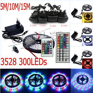 5M-10M-15M-3528-RGB-White-SMD-Flexible-Light-LED-Strip-12VPower-Supply-Remote-IR