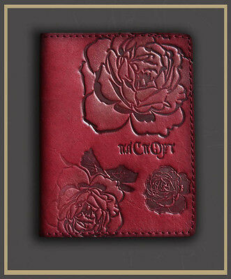HANDMADE Genuine LEATHER PASSPORT COVER holder case RED rose engrawing 67