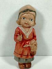"Vintage 1930's Celluloid Doll Holding Basket Made In Japan 7 1/2"""
