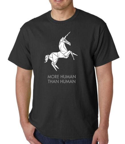 Plus humaine que l/'homme T-shirt BLADE RUNNER Origami Deckard REPLICANT citation Geek