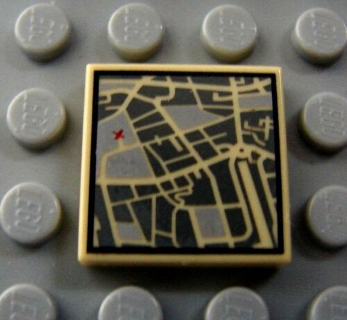 LEGO 2x2 TAN TILE MAP with City Street w// Red X to Mark the Spot