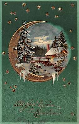 All Good Wishes for Christmas snow scene at night by PFB antique pc Y11028