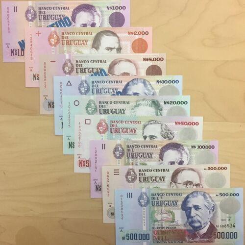 UNC URUGUAY BANKNOTE FULL SET OF NUEVOS PESOS 1000-500,000 1989-1992 SERIE A