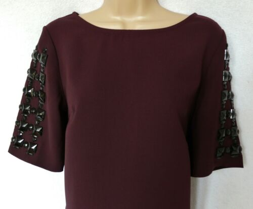 BNWT NEXT New Ladies Burgundy embellished shift occasion evening knee dress NEW