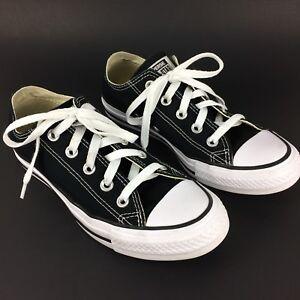 b7d40ce8f60 Details about Converse All Star Black Canvas Lace Up Low Top Shoes Men s  Size 4 Women s Size 6