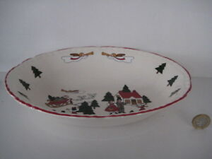 VERY-RARE-MASONS-CHRISTMAS-VILLAGE-OVAL-OPEN-VEGETABLE-BOWL-PIE-DISH-1ST-QUALITY