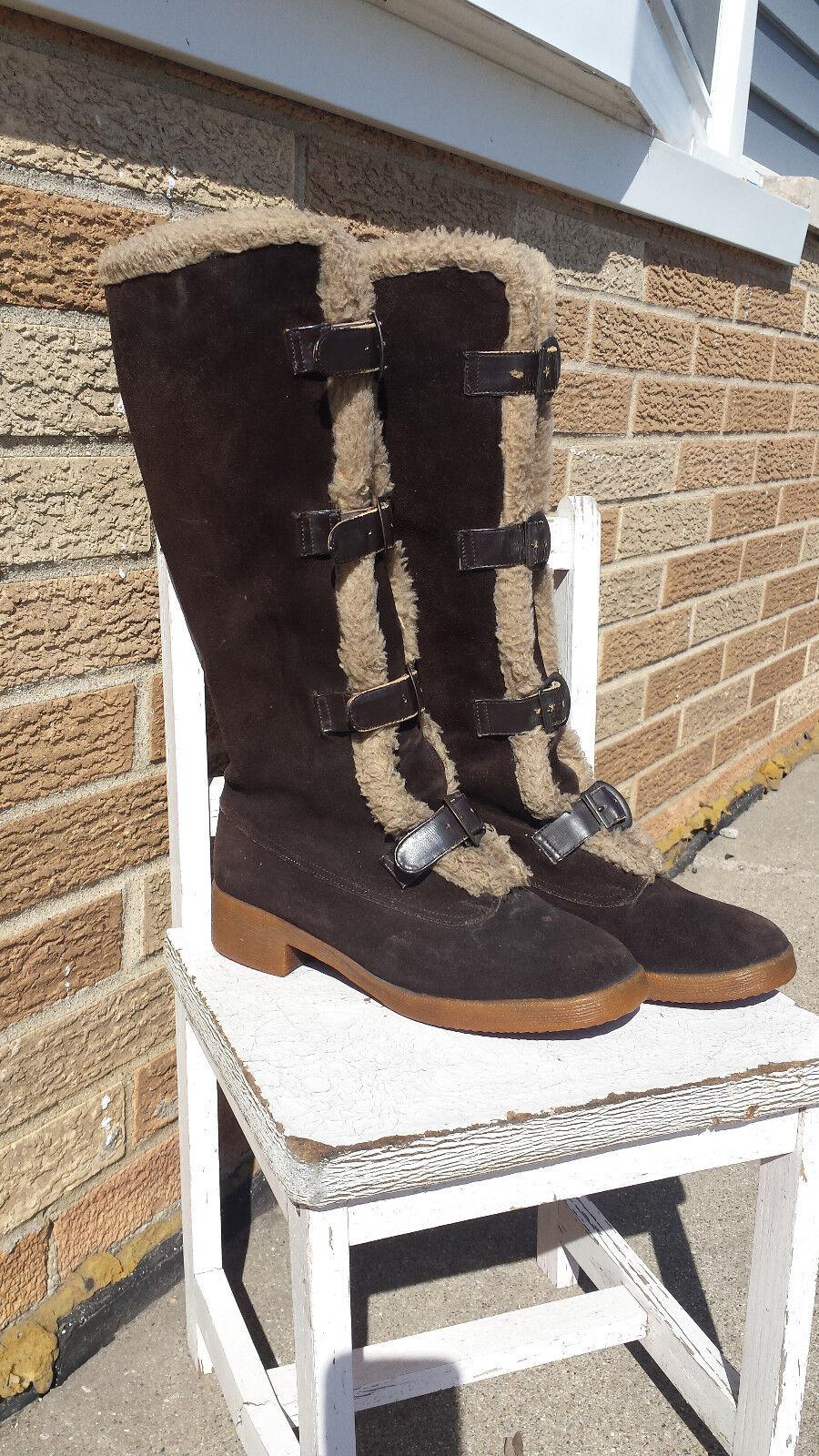 Vtg Suede Boots YUGOSLAVIA Wool Sheepskin Leather Buckle Up Ladies Ladies Ladies 7.5 Bavaria 7c391b