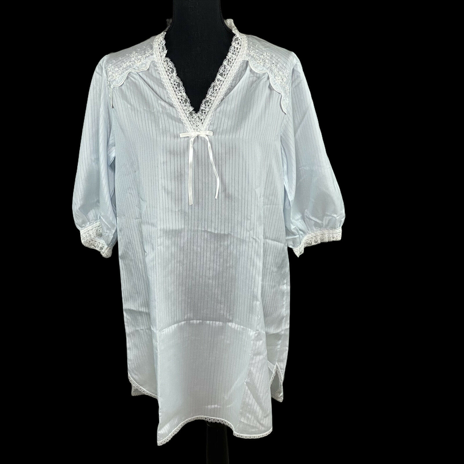 Vintage Christian Dior Miss Dior Blue Nightgown With Pinstripes Lace Size Med