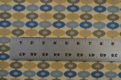 5 yds Beige Blue And Gold Round Tapestry Upholstery Fabric txed