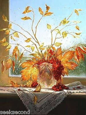 Framed Acrylic Paint by Number kit 50x40cm (20x16'') Autumn Leaves DIY YZ7059