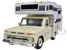 1966 CHEVROLET C-10 PICKUP TRUCK WITH CAMPER CREAM 1/24 MODEL CAR MOTORMAX 73355