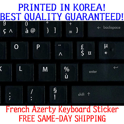 FRENCH AZERTY KEYBOARD STICKERS WITH RED LETTERING TRANSPARENT BACKGROUND