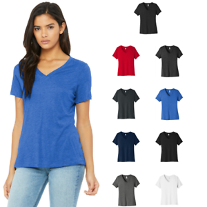 c21e3799cc6996 BELLA + CANVAS Women's V-Neck Relaxed Fit Jersey Short Sleeve Tee ...