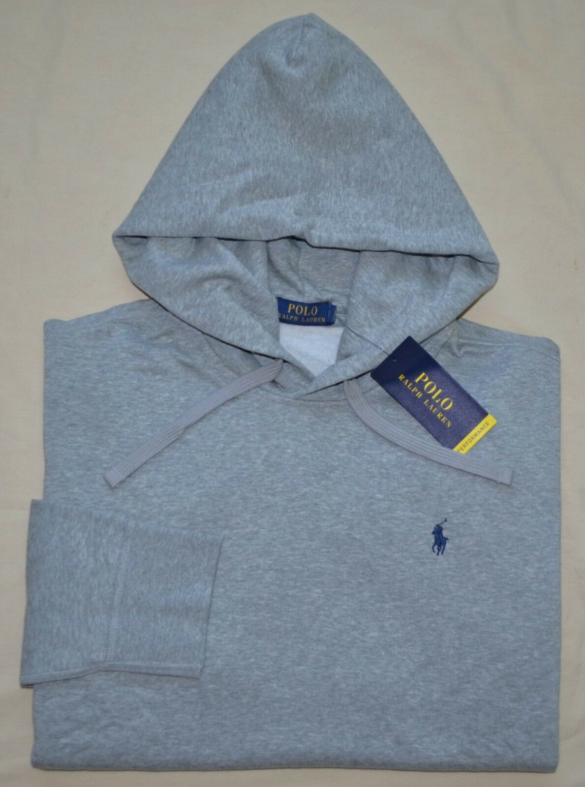 New XL POLO RALPH LAUREN  Herren pullover performance fleece hoodie sweatshirt grau