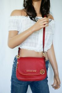 NWT-Michael-Kors-Bedford-Small-Flap-Crossbody-Pebbled-Leather-Bag-Red-Scarlet