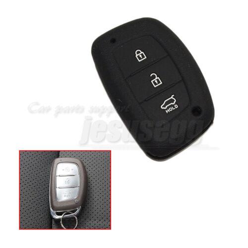 Black Silicone Key Case Cover Skin Fob 3 Button For Hyundai ix35 Mistra Verna