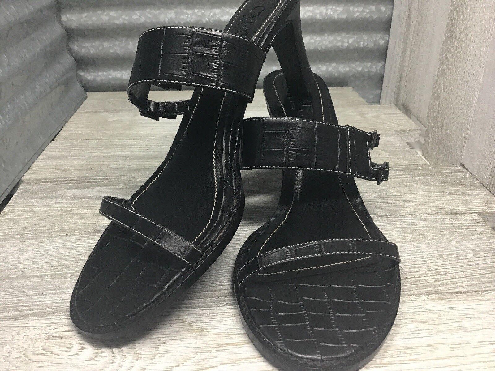 Chaps Sandals Black Leather Straps Heel Buckle Alligator Stamp Woman Heel Straps 6b0fd4