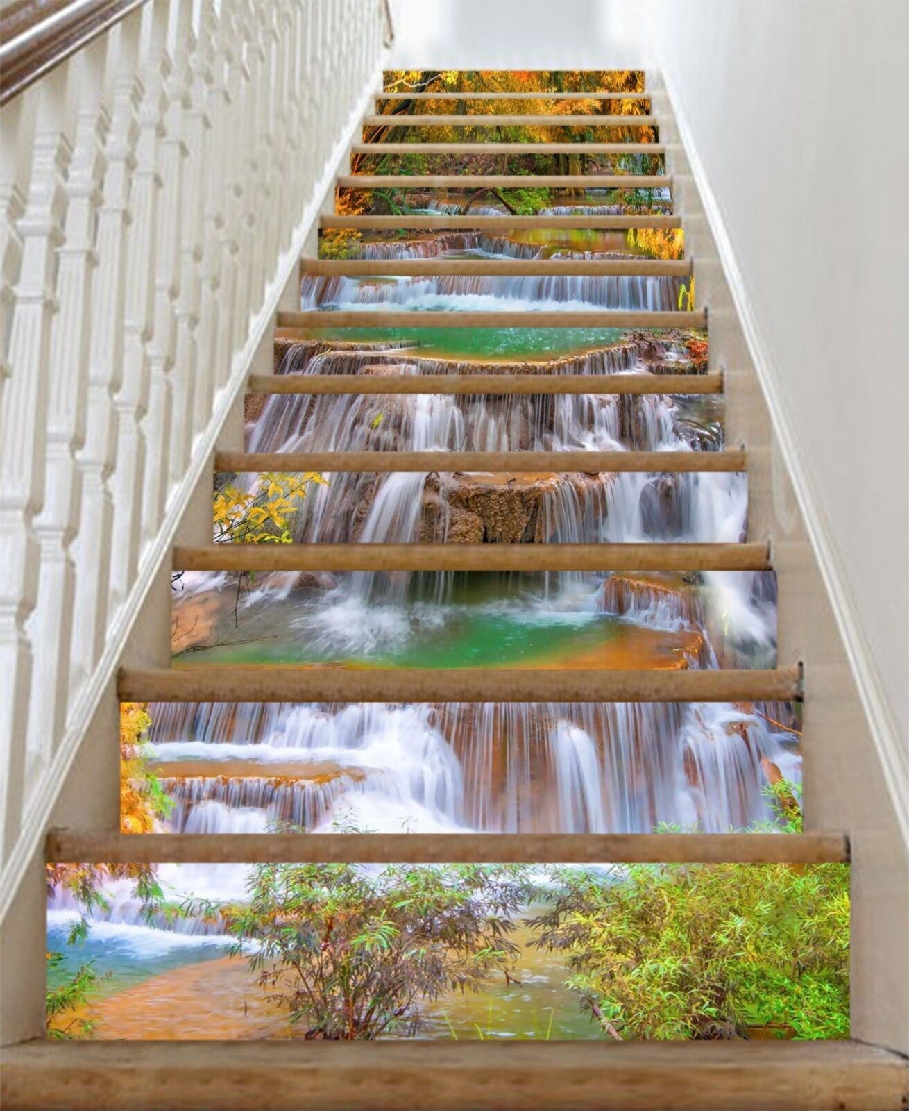 3D Waterfall stone7 Stair Risers Decoration Photo Mural Vinyl Decal Wallpaper UK