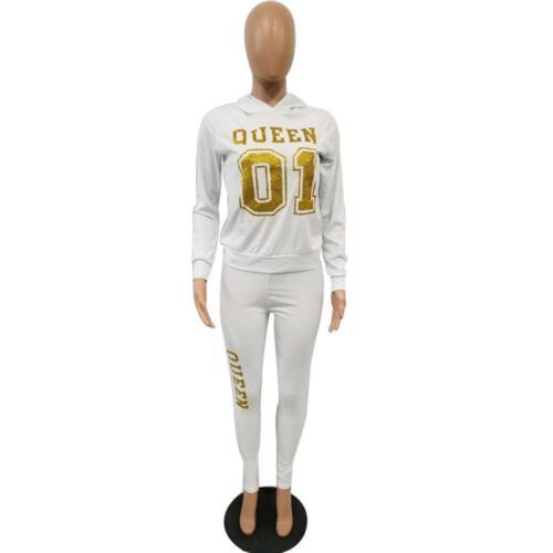 2Pcs Women Letter Tracksuit Hoodies Sweatshirt Pants Sets Sport Wear Casual Suit