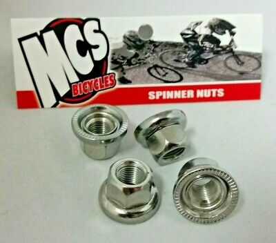 26 TPI Spinner Nuts MCS BMX Axle Nuts Pack 4 3//8 Chrome