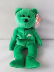 2c352479c67 TY BEANIE BABY ERIN BEAR GREEN WITH WHITE SHAMROCK RARE RETIRED WITH ...