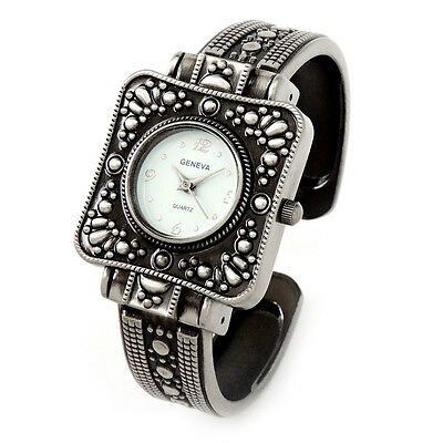 Silver Black Western Style Decorated Square Case Women's Bangle Cuff Watch