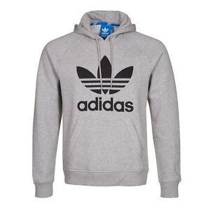adidas originals trefoil hoodie grey sizes s m l xl overhead sweater jumper ebay. Black Bedroom Furniture Sets. Home Design Ideas