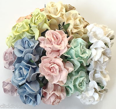 25 Curly Pastel Roses Paper Flower Wedding Basket Doll House Craft Supply G2-426