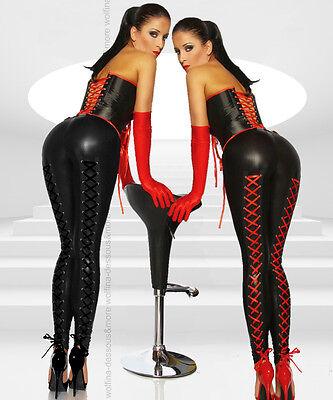 Sexy Wetlook Leggings glänzend Leggins Hose Schnürung Leder Optik XS-M schwarz