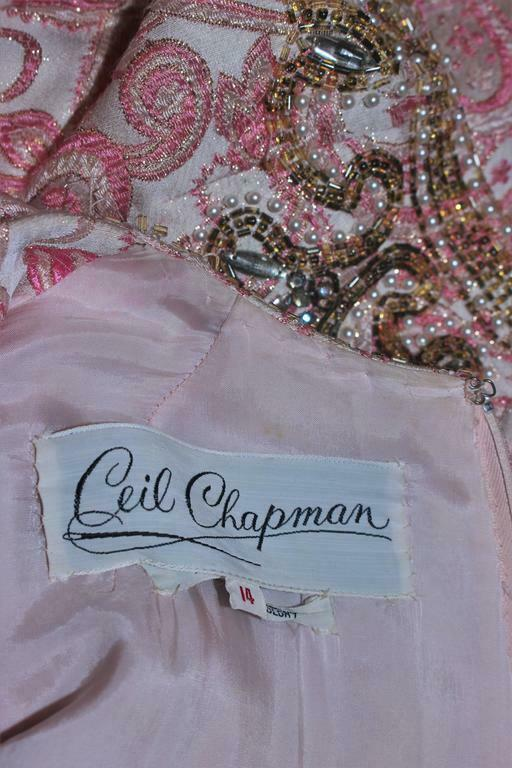 CEIL CHAPMAN 1960s Pink Paisley Brocade Gown with… - image 10