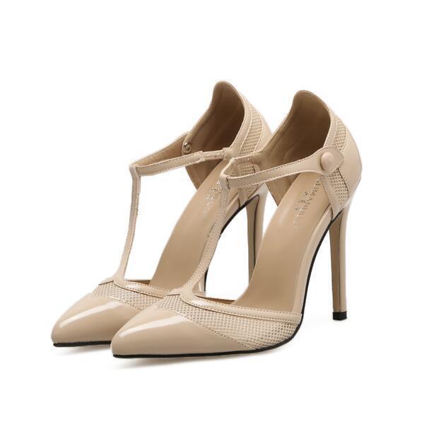 Decolte sandali tacco 11 eleganti stiletto beige perle pelle sintetica 9482