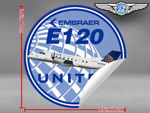 UNITED-EXPRESS-ROUND-EMBRAER-E120-BRASILIA-DECAL-STICKER-3-5-in-9-cm