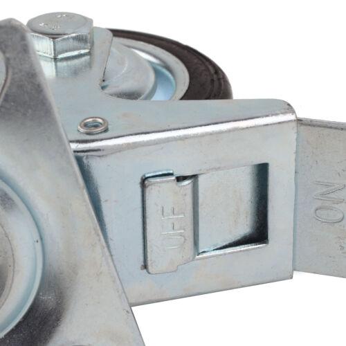 4 x 75mm Transportrollen Lenkrolle m//o Bremse Schwarz Gummiert 180KG//SET