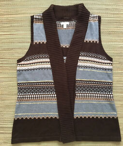 Charter Club Open Front Sweater Vest Stripes Sequins Brown
