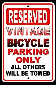 Vintage Bicycle Parking Only All Others Will Be Towed Metal Sign USA novelty