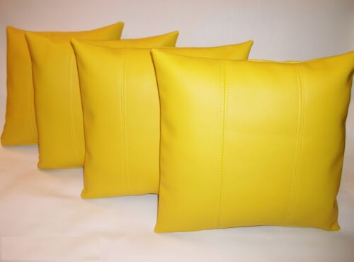 """4 Yellow Stripe Faux Leather Cushions 16/"""" 18/"""" 20/"""" /&  Inner Filler Pads"""
