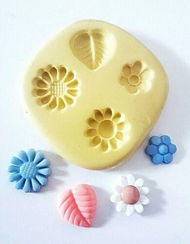 Petites Fleurs Feuilles Moule en silicone 10//15 mm Sugarcraft Fimo Gâteau Décorer