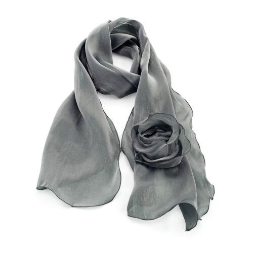 22 Pink Shawl-rosette-stole shoulder arm wrap fluted chiffon-organza-scarf