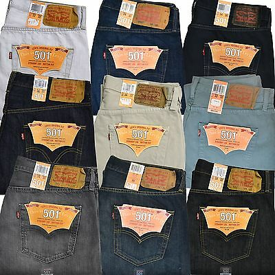 Levis 501 Jeans Mens Button Fly Straight Leg Original 29 30 31 32 33 34 36 38 40