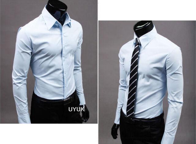Luxury Mens Stylish Casual Dress Shirt Slim Fit T-Shirts Formal Long Sleeve Hot