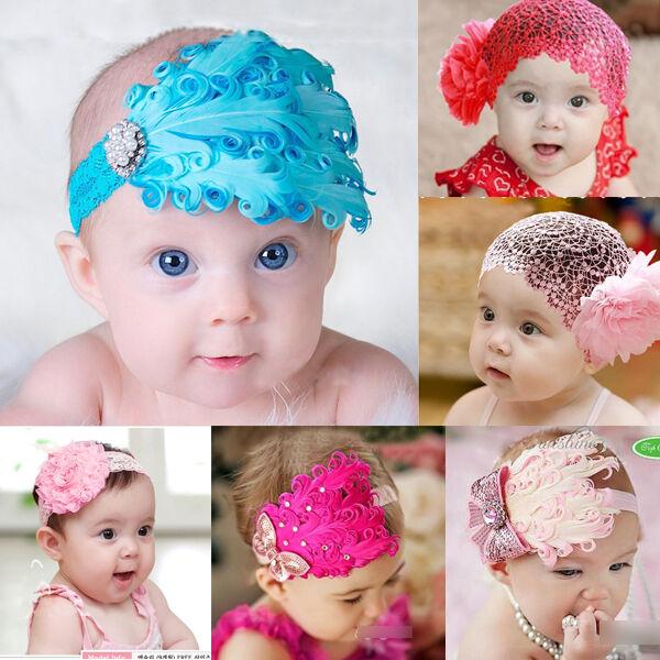 New Infant Baby Toddler Feather Flower Rhinestone Headband Headwear Hair Band