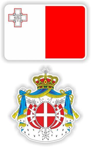 Malta Flagge+Wappen 2x Aufkleber Bandiera