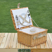 Outsunny Luxury 2 Person Picnic Hamper Willow Wicker Basket Outdoor Set Cutlery