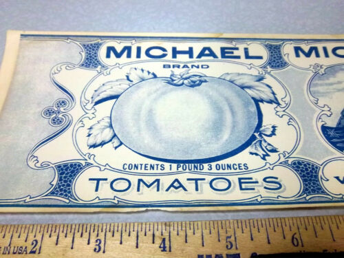 Vintage Original Label WWI era Michael Brand Tomatoes Tank /& soldiers in trench